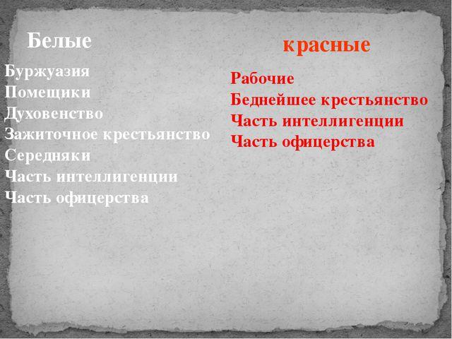 Белые Буржуазия Помещики Духовенство Зажиточное крестьянство Середняки Часть...