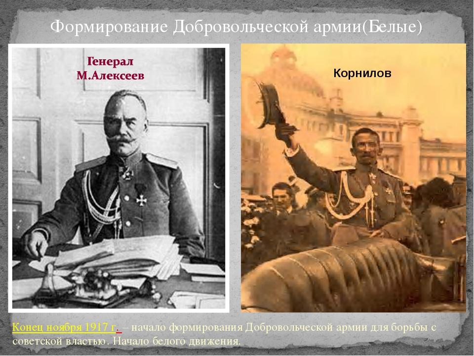 Формирование Добровольческой армии(Белые) Конец ноября 1917 г. – начало форми...