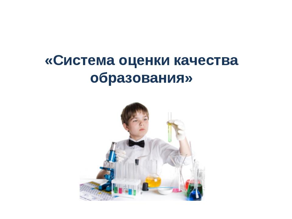 «Система оценки качества образования»