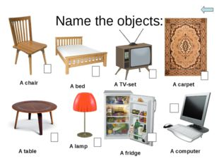 Name the objects: A chair A bed A TV-set A carpet A table A lamp A fridge A c