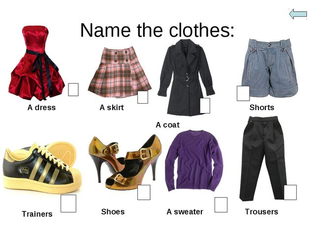 Name the clothes: A dress A skirt A coat Shorts Trainers Shoes A sweater Trou...