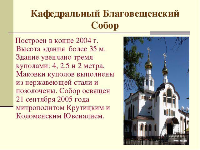 Кафедральный Благовещенский Собор Построен в конце 2004 г. Высота здания бол...