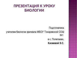 Подготовлена учителем биологии филиала МБОУ Токаревской СОШ №1 в с. Полетаев