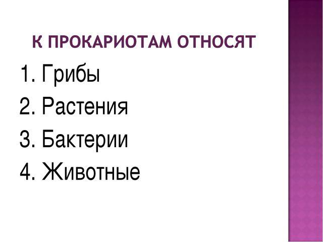 1. Грибы 2. Растения 3. Бактерии 4. Животные