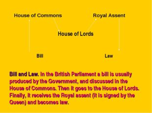 Bill and Law. In the British Parliament a bill is usually produced by the Gov