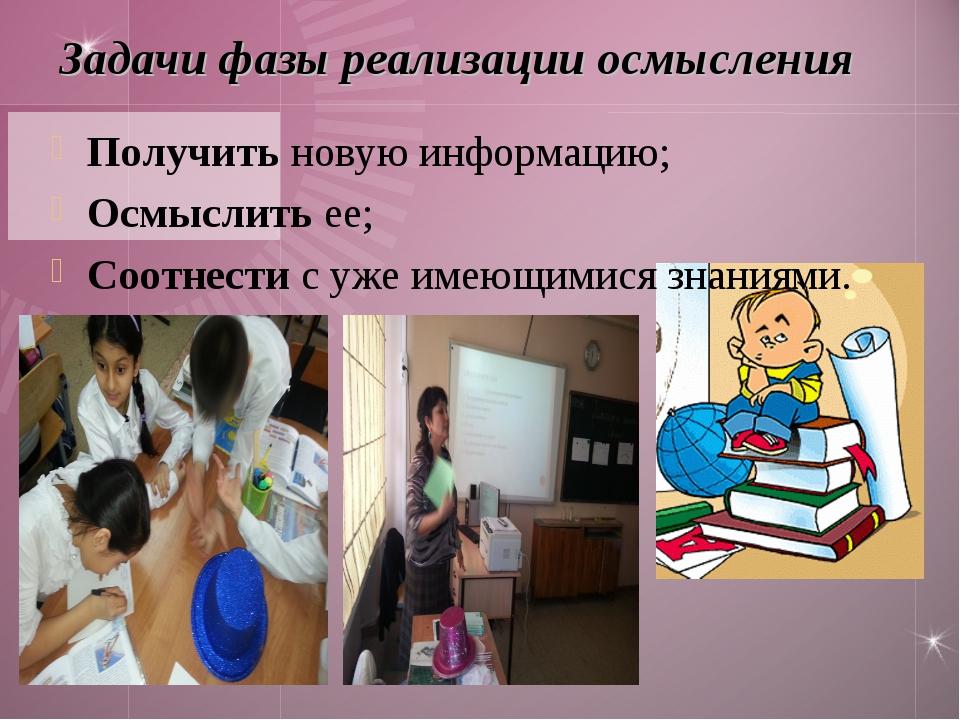 Задачи фазы реализации осмысления Получить новую информацию; Осмыслить ее; Со...