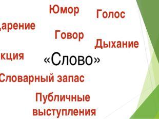 «Слово» Ударение Говор Голос Дикция Словарный запас Публичные выступления Дых