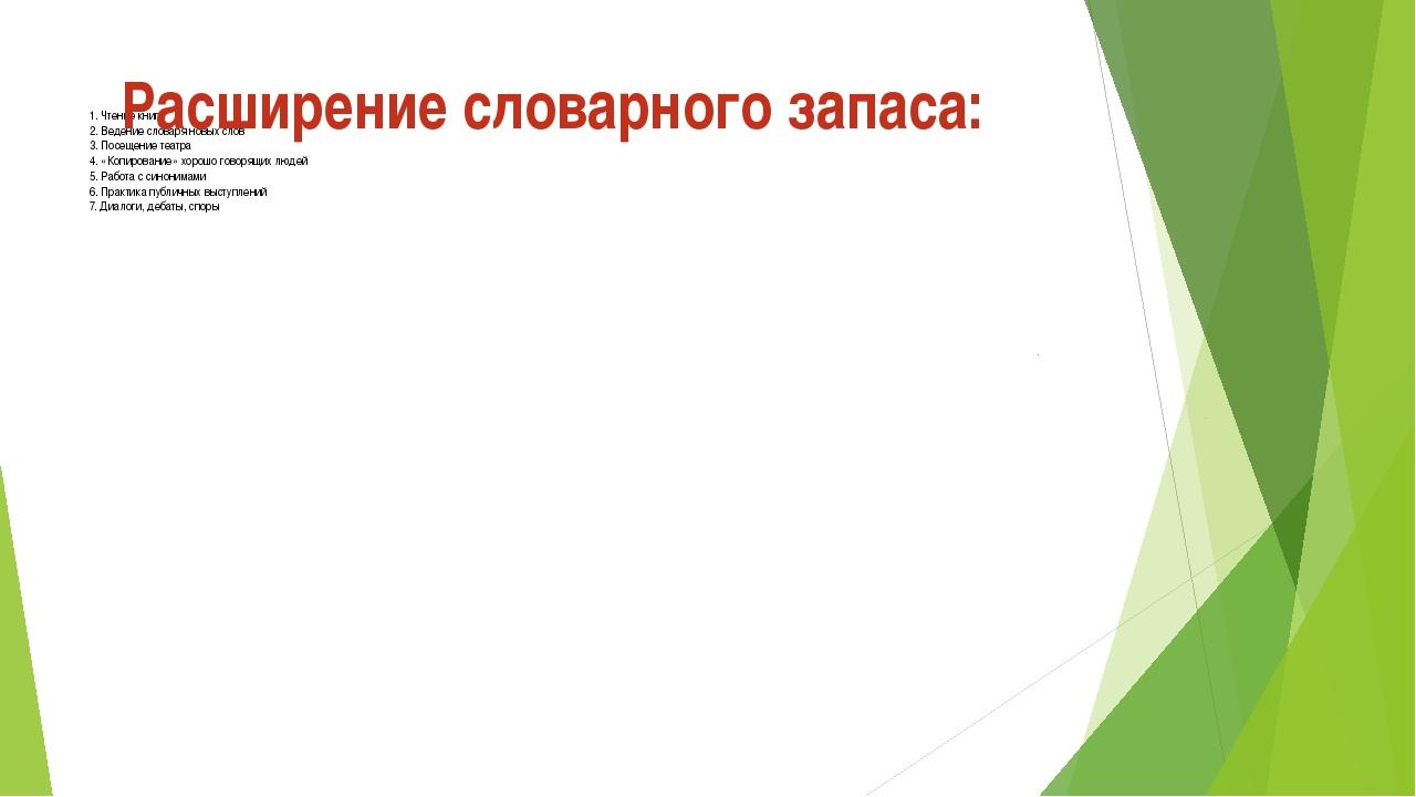 1. Чтение книг 2. Ведение словаря новых слов 3. Посещение театра 4. «Копиров...