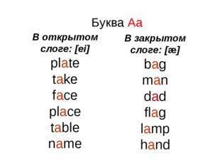 Буква Aa В открытом слоге: [ei] plate take face place table name В закрытом с