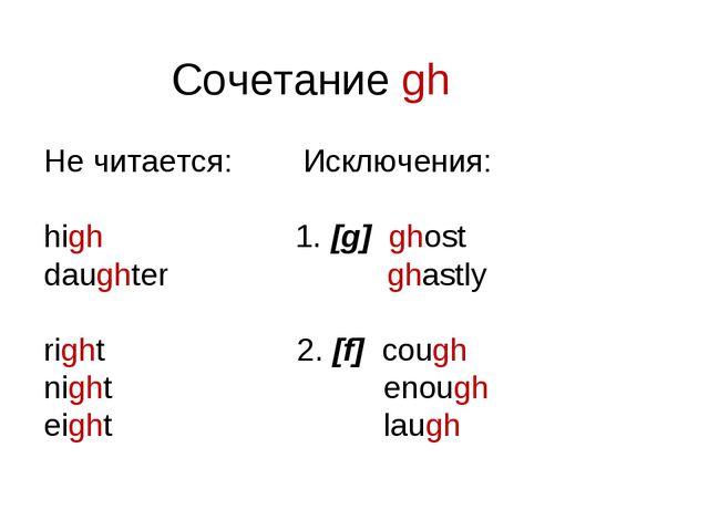 Сочетание gh Не читается: Исключения: high 1. [g] ghost daughter ghastly righ...