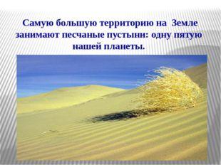 Самую большую территорию на Земле занимают песчаные пустыни: одну пятую наше