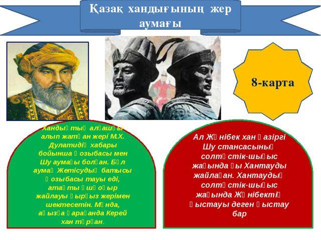 Қазақ хандығының жер аумағы Хандықтың алғашқы алып жатқан жері М.Х. Дулатидің...