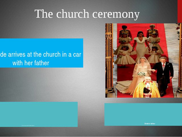 The church ceremony The church organ plays the Wedding March Bride's father T...