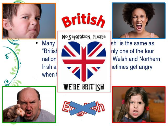 "Many people think that ""English"" is the same as ""British"". But England is the..."