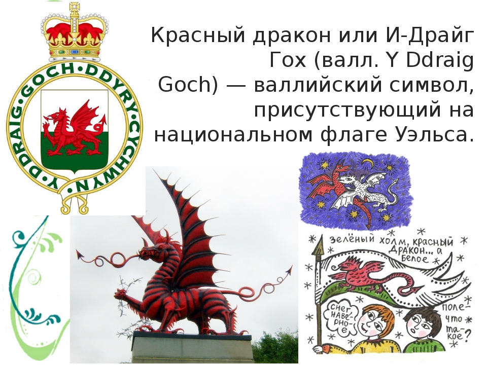 Красный драконилиИ-Драйг Гох(валл.Y Ddraig Goch)—валлийскийсимвол, при...