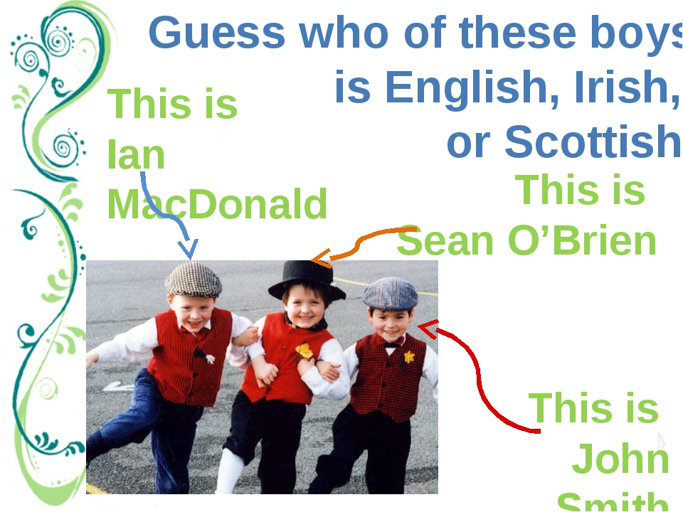 Guess who of these boys is English, Irish, or Scottish. This is John Smith Th...