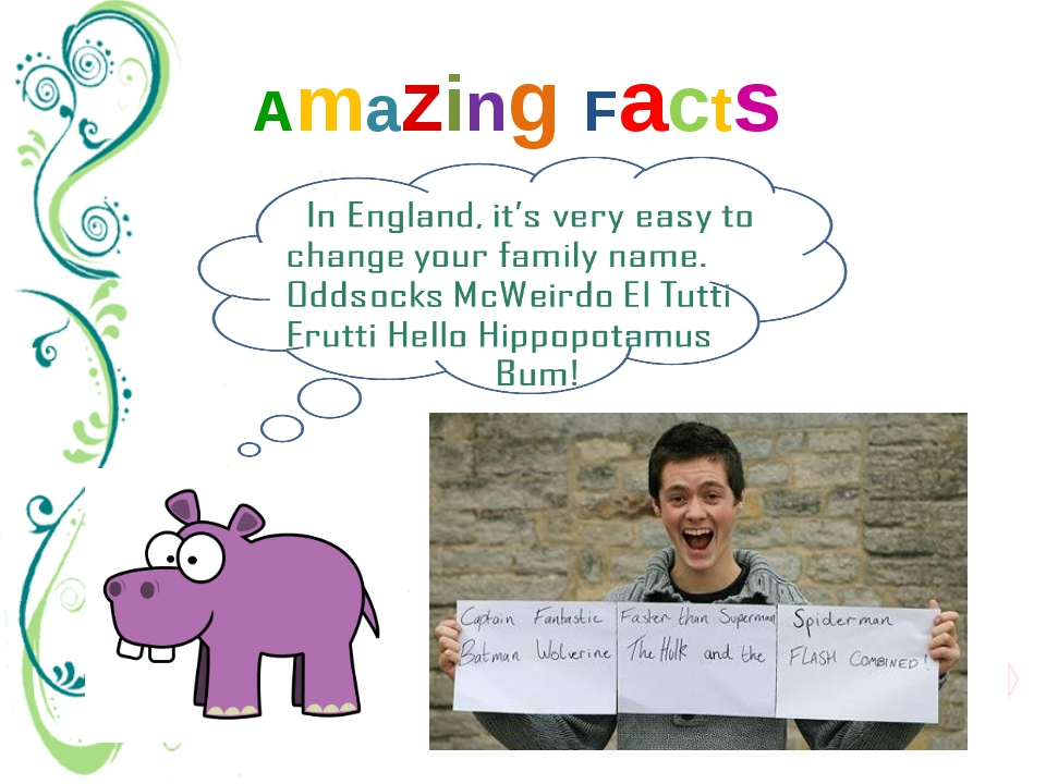 Amazing Facts In fact, you can choose any name you like. In the 1980's, one p...