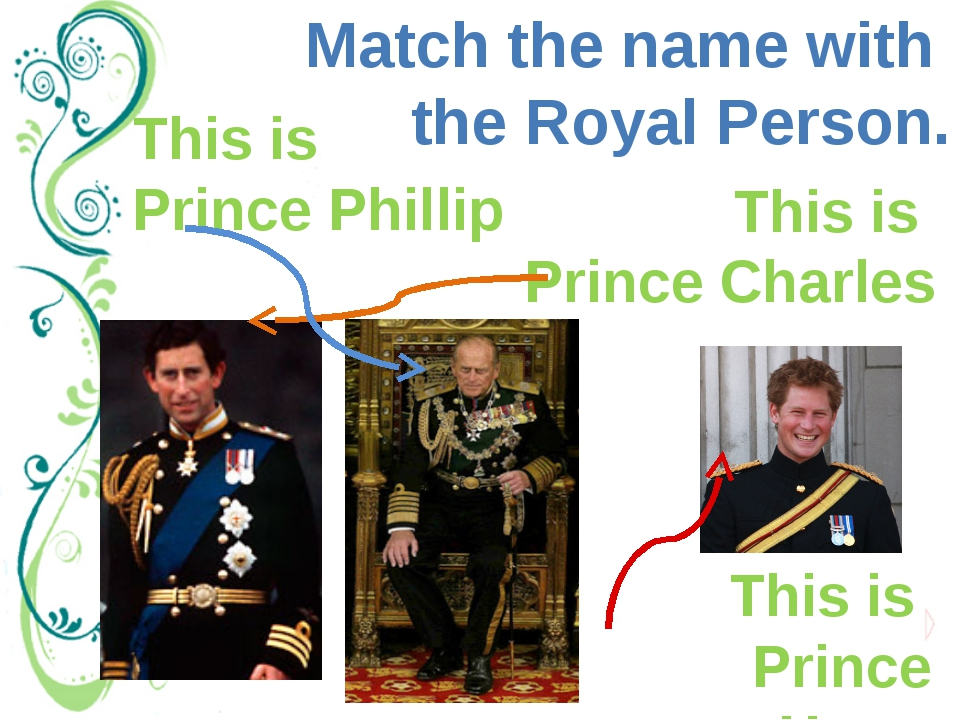 Match the name with the Royal Person. This is Prince Harry This is Prince Cha...
