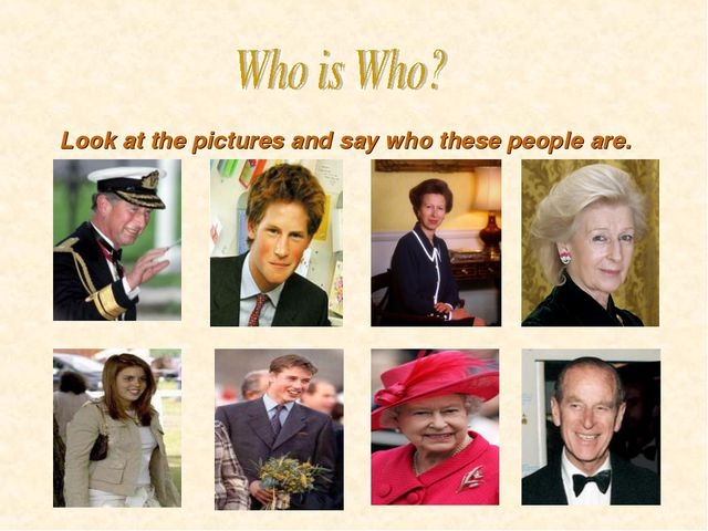 Look at the pictures and say who these people are.