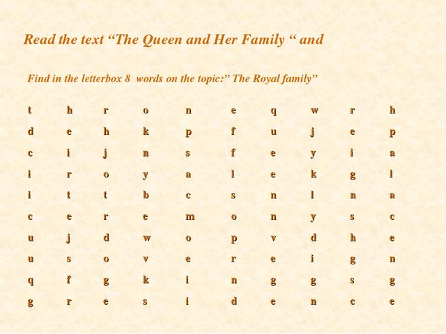 """Read the text """"The Queen and Her Family """" and Find in the letterbox 8 words o..."""