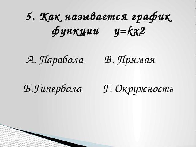 5. Как называется график функции y=kx2 А. Парабола В. Прямая Б.Гипербола Г. О...