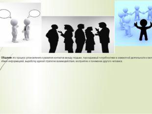 Общение это процесс установления и развития контактов между людьми, порождаем