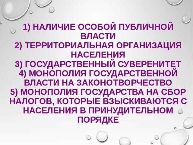 1) НАЛИЧИЕ ОСОБОЙ ПУБЛИЧНОЙ ВЛАСТИ 2) ТЕРРИТОРИАЛЬНАЯ ОРГАНИЗАЦИЯ НАСЕЛЕНИЯ 3...