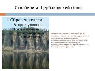 Столбичи и Щербаковский сброс Отвесные колонны, высотой до 10 метров, сложенн