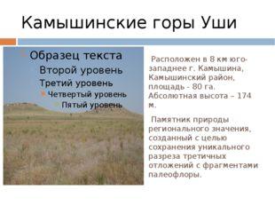 Камышинские горы Уши Расположен в 8 км юго-западнее г. Камышина, Камышинский