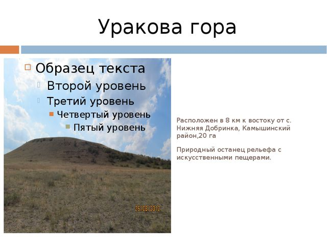 Уракова гора Расположен в 8 км к востоку от с. Нижняя Добринка, Камышинский р...