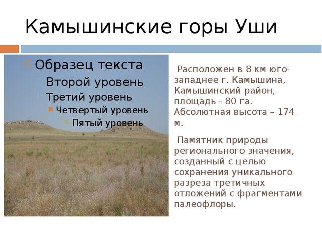 Камышинские горы Уши Расположен в 8 км юго-западнее г. Камышина, Камышинский...