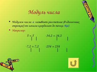 Модуль числа Модулем числа а называют расстояние (в единичных отрезках) от на