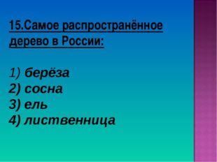 15.Самое распространённое дерево в России: берёза сосна 3) ель 4) лиственница