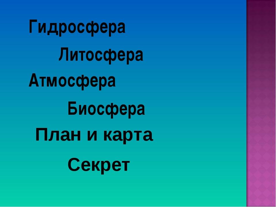 Гидросфера Литосфера Атмосфера Биосфера Секрет План и карта