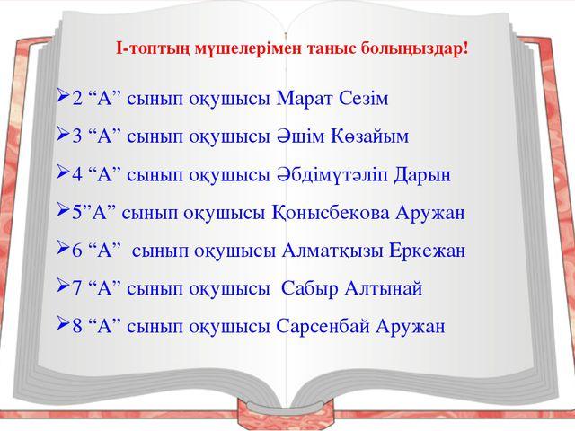 """2 """"А"""" сынып оқушысы Марат Сезім 3 """"А"""" сынып оқушысы Әшім Көзайым 4 """"А"""" сынып..."""