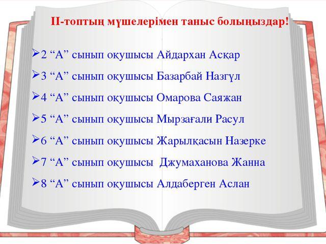 """2 """"А"""" сынып оқушысы Айдархан Асқар 3 """"А"""" сынып оқушысы Базарбай Назгүл 4 """"А""""..."""