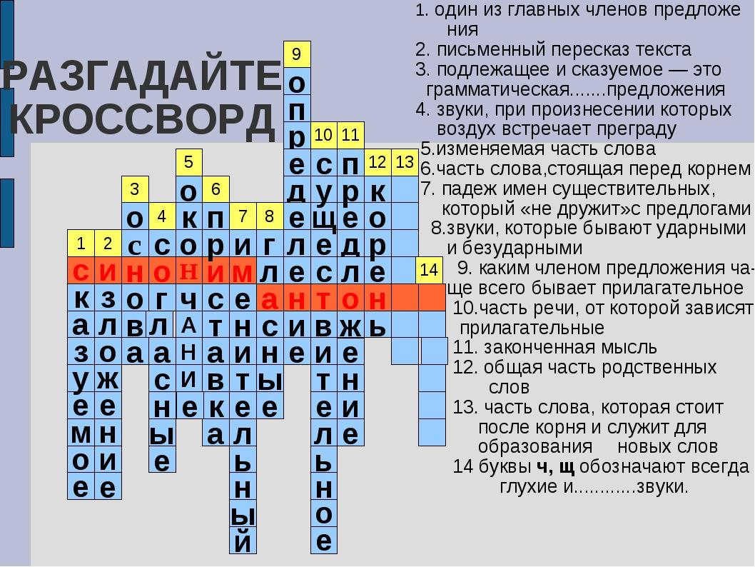 РАЗГАДАЙТЕ КРОССВОРД 1. один из главных членов предложе ния 2. письменный пер...