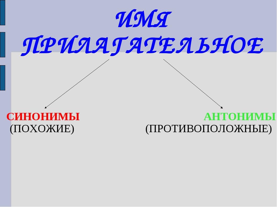 ИМЯ ПРИЛАГАТЕЛЬНОЕ СИНОНИМЫ АНТОНИМЫ (ПОХОЖИЕ)(ПРОТИВОПОЛОЖНЫЕ)