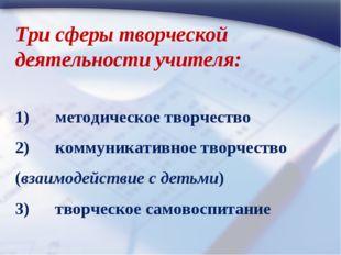 Три сферы творческой деятельности учителя: 1) методическое творчество 2)