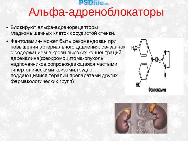 Альфа-адреноблокаторы Блокируют альфа-адренорецепторы гладкомышечных клеток с...