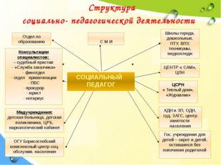 Структура социально- педагогической деятельности Отдел по образованию С М И К