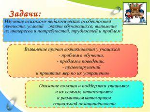 Задачи: Изучение психолого-педагогических особенностей личности, условий жизн