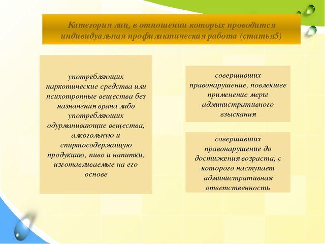Категория лиц, в отношении которых проводится индивидуальная профилактическая...