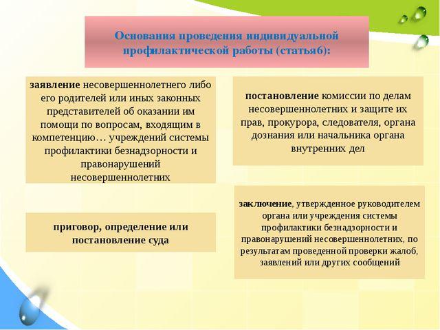 Основания проведения индивидуальной профилактической работы (статья6): заключ...