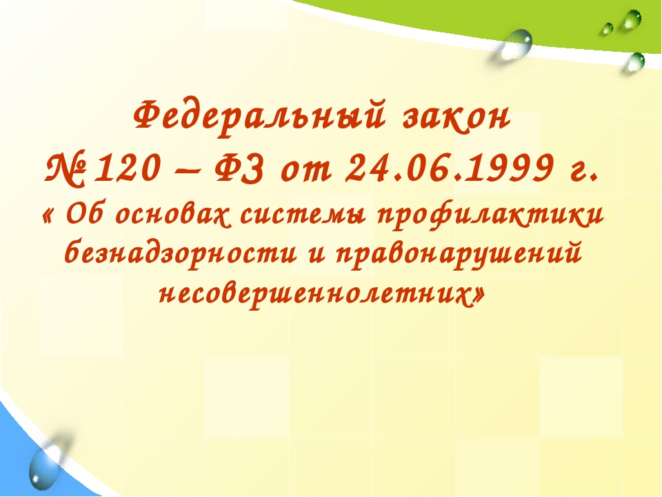 Федеральный закон № 120 – ФЗ от 24.06.1999 г. « Об основах системы профилакти...