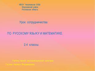 МБОУ Чекаловская ООШ Морозовский район Ростовская область Урок сотрудничеств