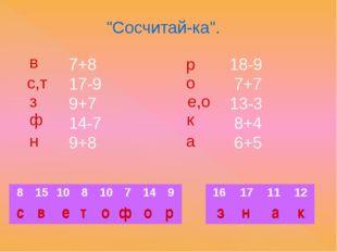 """Сосчитай-ка"". 7+8 17-9 9+7 14-7 9+8 18-9 7+7 13-3 8+4 6+5 в с,т з ф н р о е,"