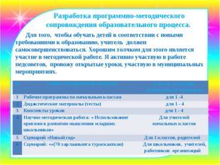 Разработка программно-методического сопровождения образовательного процесса.