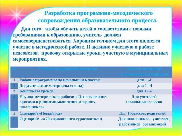Разработка программно-методического сопровождения образовательного процесса....