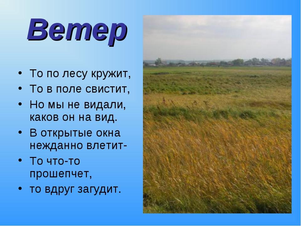 Ветер То по лесу кружит, То в поле свистит, Но мы не видали, каков он на вид....